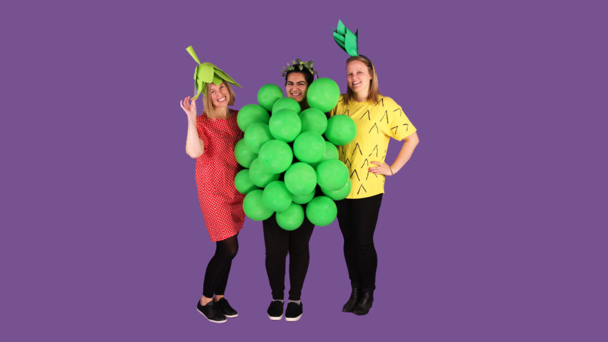 various people in fruit themed costumes